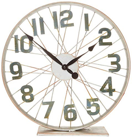 Lone Elm Battery-Operated Bicycle Clock with Spoked Wheel Effects, Brown