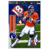 "WinCraft NFL Denver Broncos Peyton Manning Multi-Use Decal Sheet, 11""x17"", Team Color"