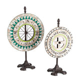 "Lone Elm Wood and Metal Compass Table Top Decor, 2 Assorted. 14.20"" L x 5.90"" W x 23.60"" H"