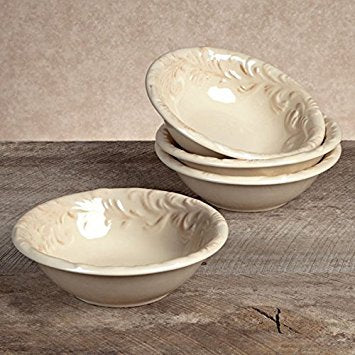 GG Collection Ceramic Round Salad Bowls - Cream - Set of 4