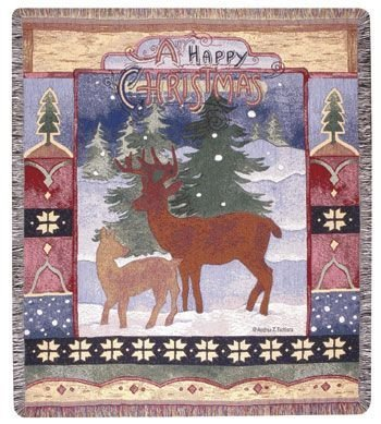 Simply A Happy Christmas Mid-Size Tapestry Throw