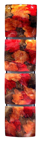 ArtFuzz Vertical 4-Panel Metal Wall Decor - Copper, Red and Gold - Metal, Lacquered