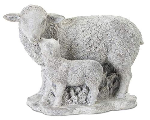 Melrose 78336 Lamb Family, 9-Inch x 6.75-Inch Height Resin/Stone Powder