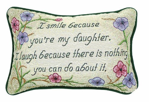 Manual 12.5 x 8.5-Inch Decorative Throw Pillow, I Smile I Laugh/Daughter