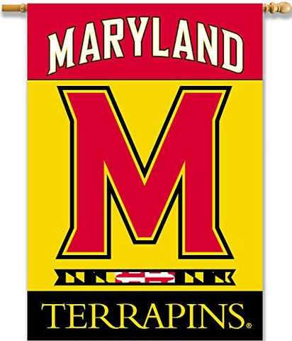 NCAA Maryland Terrapins 2-Sided 28 x 40-Inch Banner with Pole Sleeve, One Size, Red