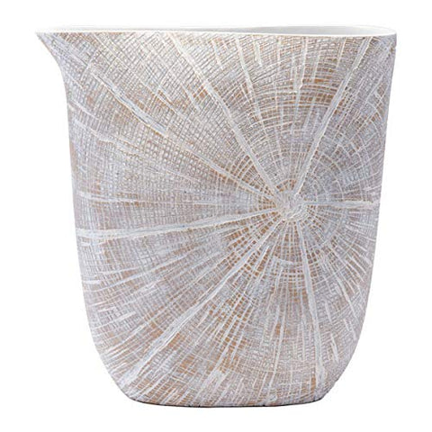 13.9 inch X 3.8 inch X 15 inch White and Beige Antique Poly Jar