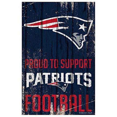 WinCraft NFL New England Patriots SignWood Proud to Support Design, Team Color, 11x17
