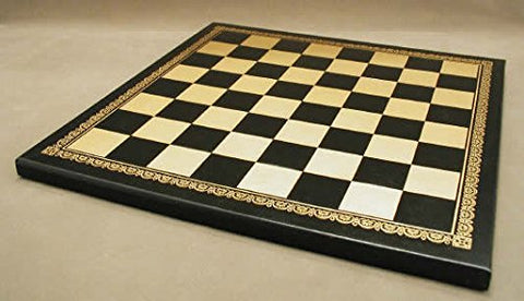 Worldwise Imports 201GN Faux Leather Chess Board Black and Gold