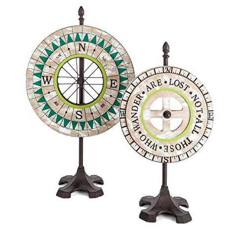 Lone Elm Wood and Metal Compass Table Top Decor, 2 Assorted. 14.20