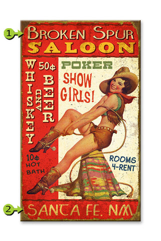 Pin-Up Cowgirl Saloon Wood 28x48