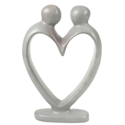 Smolart Handcrafted Soapstone Lovers Heart Sculpture, White
