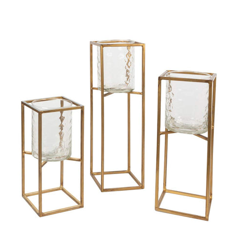Gerson 44657 Set of 3 Candle Holders Home Decor, 15.3InL x 5.51InW x 18.11InH, Gold