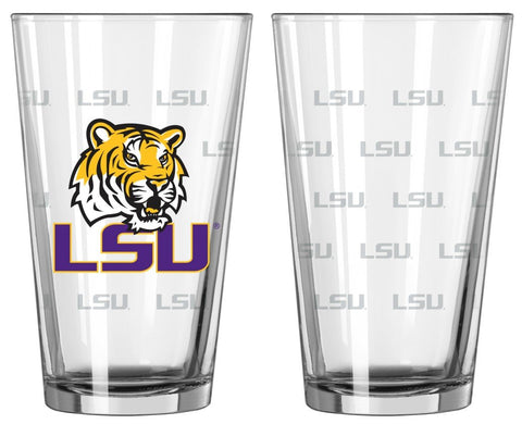 Boelter Brands NCAA LSU Tigers Pint GlassSatin Etch 2 Pack, Clear, One Size