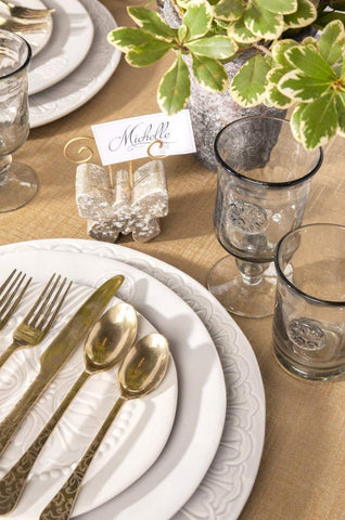 Gerson 93833 S/2 5pc Golden Floral Flatware Home Decor, 7.5InL x 1.5InW x 10.5InH, Gold