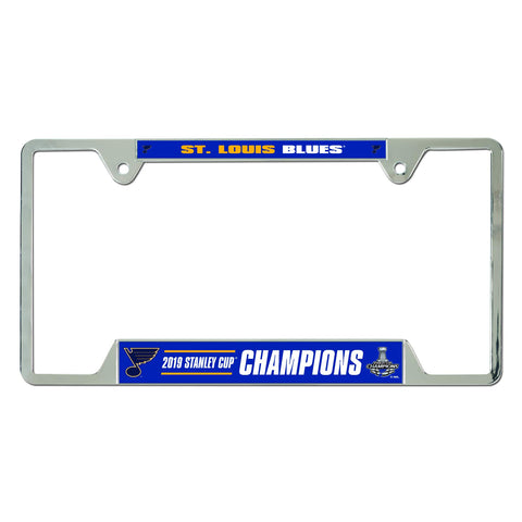 WinCraft St. Louis Blues 2019 Stanley Cup Champions Chrome Metal License Plate Frame