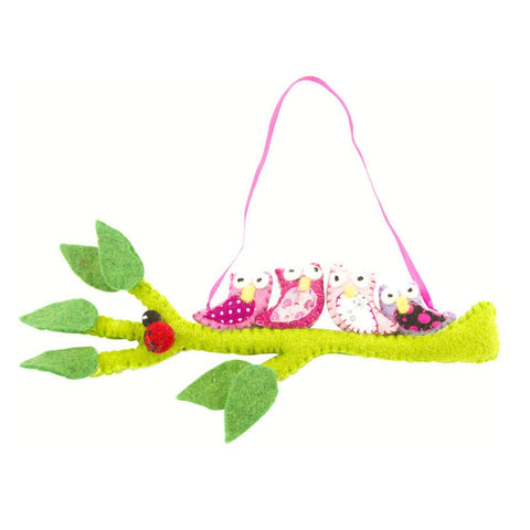 Global Groove Felted Owls on a Hanging Branch - Pink
