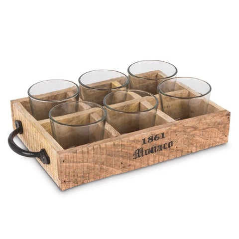 Lone Elm Studios Wood Knob Tray w/ 6 Votive Cup Home Decor, 11InL x 3InW x 6InH, Brown