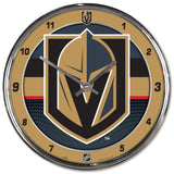 WinCraft NHL Vegas Golden Knights ClockChrome Round Wall Style Clock, Team Colors, One Size