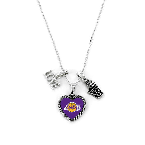 Aminco International NBA Los Angeles Lakers Charmed Love Basketball Necklace