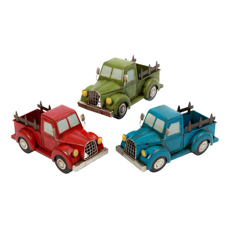 GIL 2474690 S/3 Asst Antique Truck Planters Spring, 14.57InL x 6.69InW x 7.28InH, Multicolor