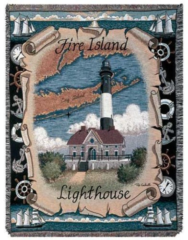 Simply Fire Island Lighthouse Mid-Size Tapestry Throw