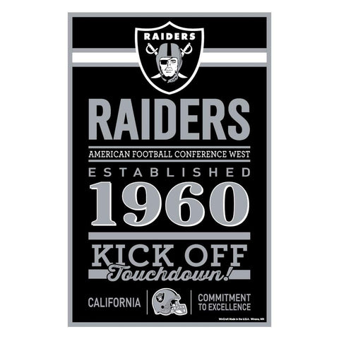 WinCraft NFL Oakland Raiders SignWood Established Design, Team Color, 11x17
