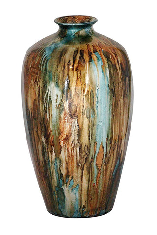 ArtFuzz 21 inch Foiled & Lacquered Ceramic Vase in Turquoise, Copper and Brown