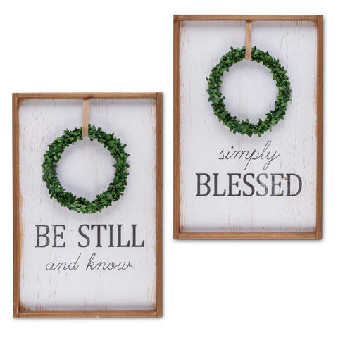 Gerson 94607 Wreath Wall, 2 Asst Home Decor 16.25InL x 1InW x 23.75InH Multicolor