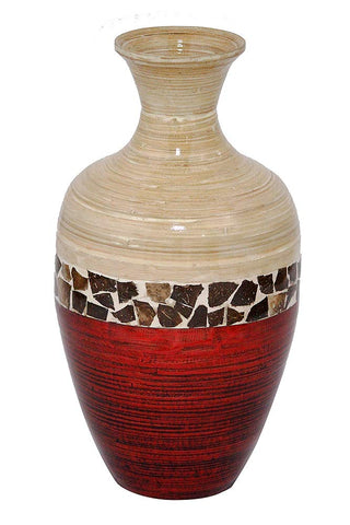 ArtFuzz 20 inch Spun Bamboo Vase - Bamboo in Natural Bamboo and Metallic Red W/Coconut Shell