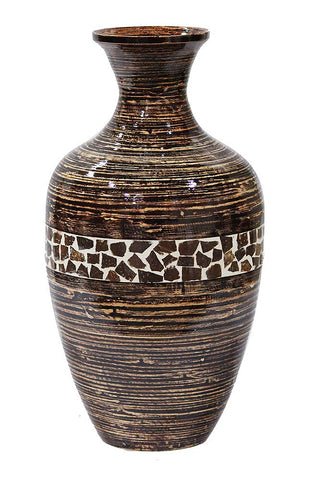 ArtFuzz 20 inch Spun Bamboo Vase - Bamboo in Distressed Brown W/Brown Coconut Shell