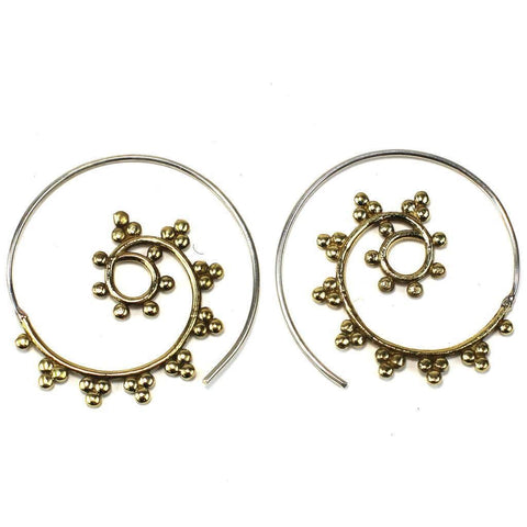 Brass Galactic Design Spiral Earrings - DZI