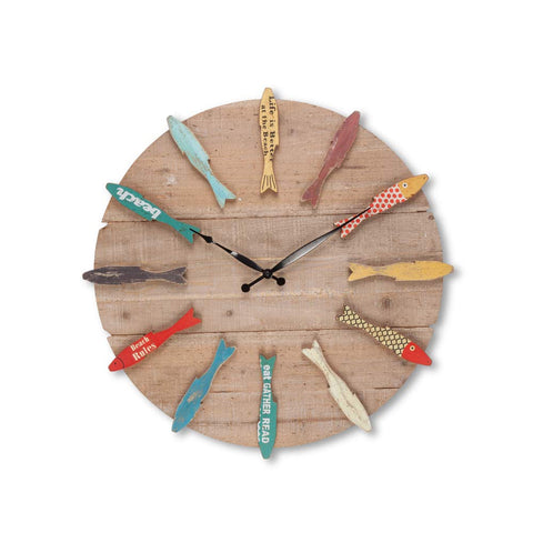 Gerson 94606 Wooden Fish Clock Home Decor, 22InL x 2InW x 24.5InH, Multicolor