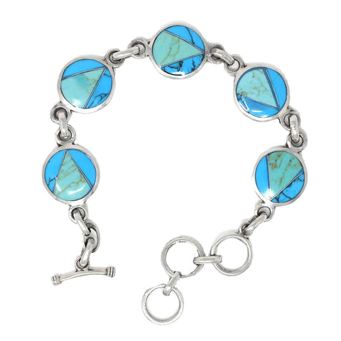 Gifts With Humanity Handcrafted Mexican Alpaca Silver and Turquoise Disk Bracelet - Artisana Jewelry