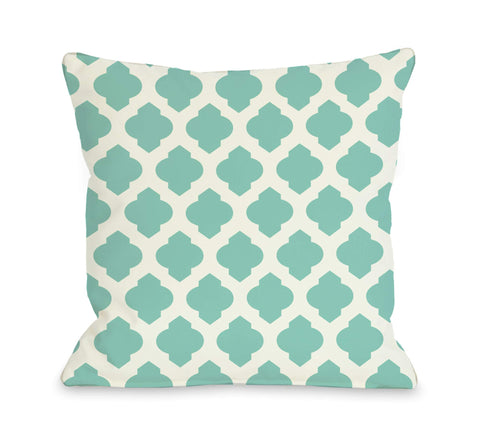 All Over Moroccan Pillow, Turquoise Ivory