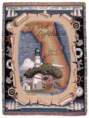 Simply Key West, Fl Lighthouse Tapestry Throw