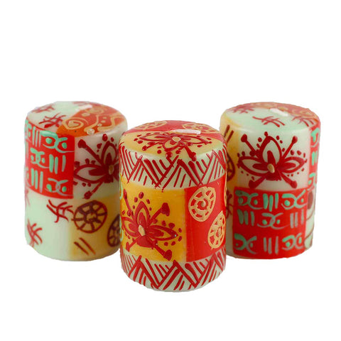 Nobunto Hand Painted Candles in Owoduni Design (Box of Three)