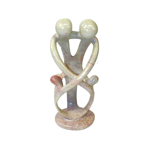 SMOLArt Natural 10-inch Tall Soapstone Family Sculpture - 2 Parents 2 Children