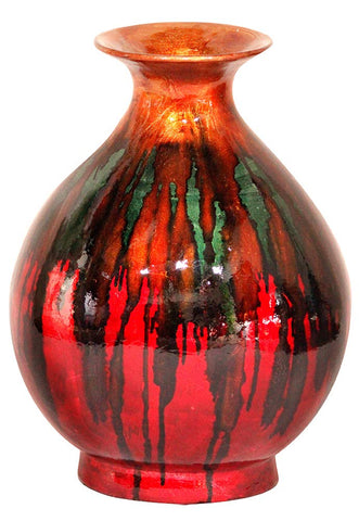 ArtFuzz 19 inch Foiled & Lacquered Ceramic Vase - Ceramic, Lacquered in Orange, Green and Red