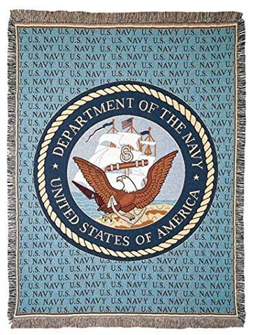 Navy Full Size Tapestry Throw
