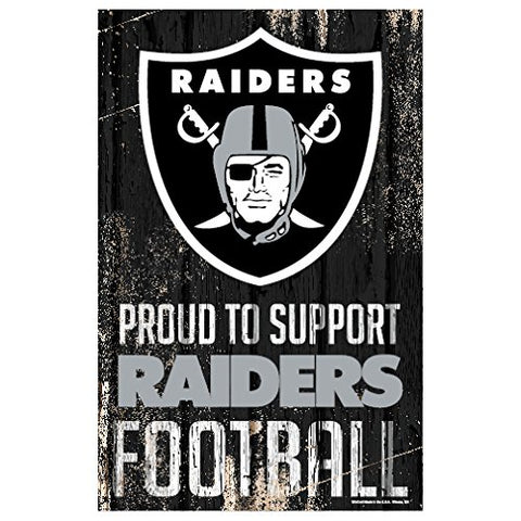 WinCraft NFL Oakland Raiders Sports Fan Home Decor, Team Color, 11x17