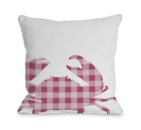 One Bella Casa 70277PL16 16 x 16 in. Plaid Crab Pillow - Pink
