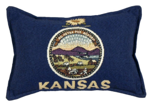 Simply Flag of Kansas Small Tapestry Pillow