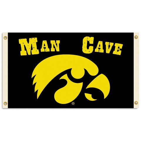 NCAA Iowa Hawkeyes Man Cave Flag with 4 Grommets (3 x 5-Feet)