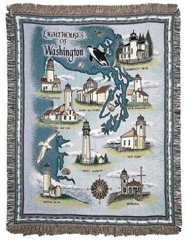 Simply Lighthouses of Washington Mid-Size Tapestry Throw