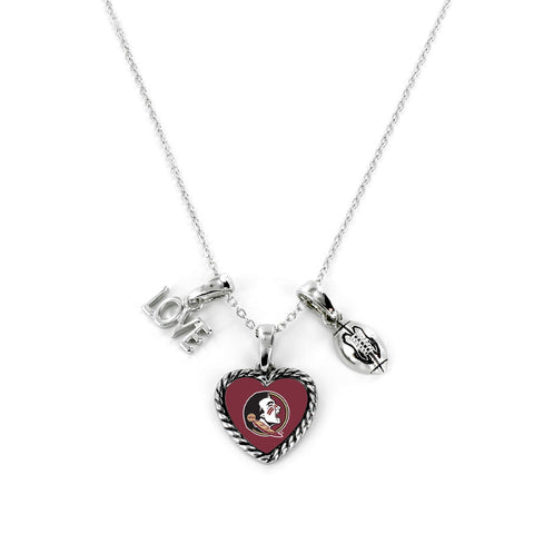 Aminco International NCAA Florida State Seminoles Charmed Love Football Necklace