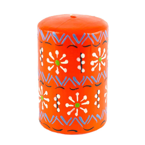 Nobunto Hand Painted Candles in Orange Masika Design (Pillar)