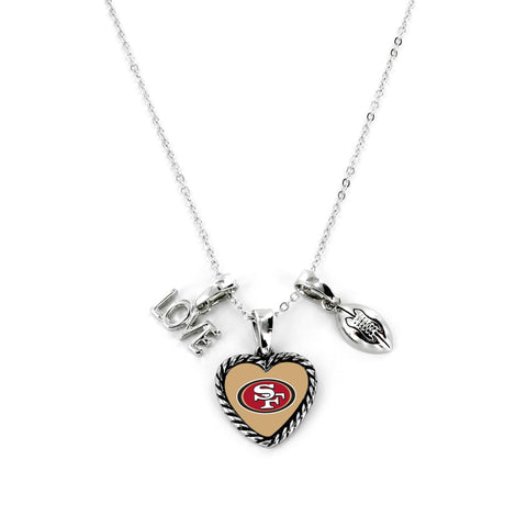 Aminco International NFL San Francisco 49ers Charmed Love Football Necklace