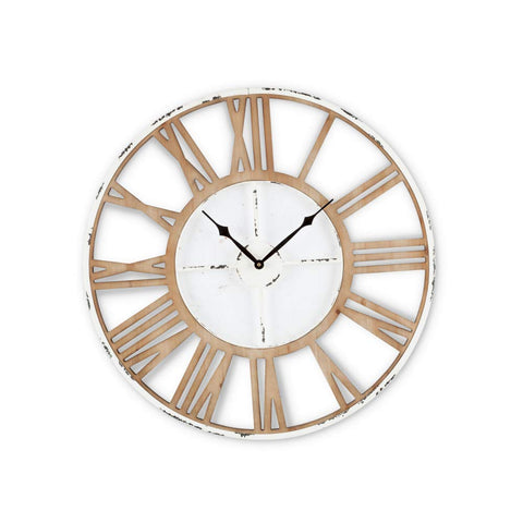 Gerson 94376 Wooden and Metal Wall Clock Home Decor, 24InL x 24InW x 0.8InH, White