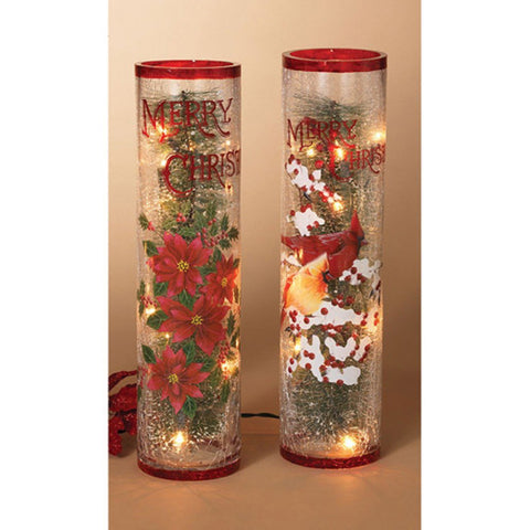 Gerson 16 in. Electric Crackle Glass Holiday Tabletop Decor - Set of 2
