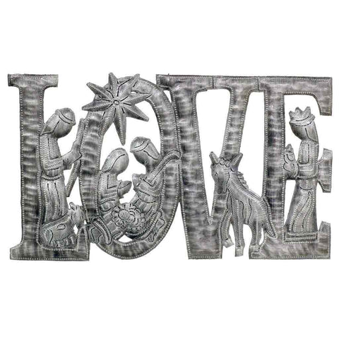 Croix des Bouquets Love Metal Art with Nativity Scene (9